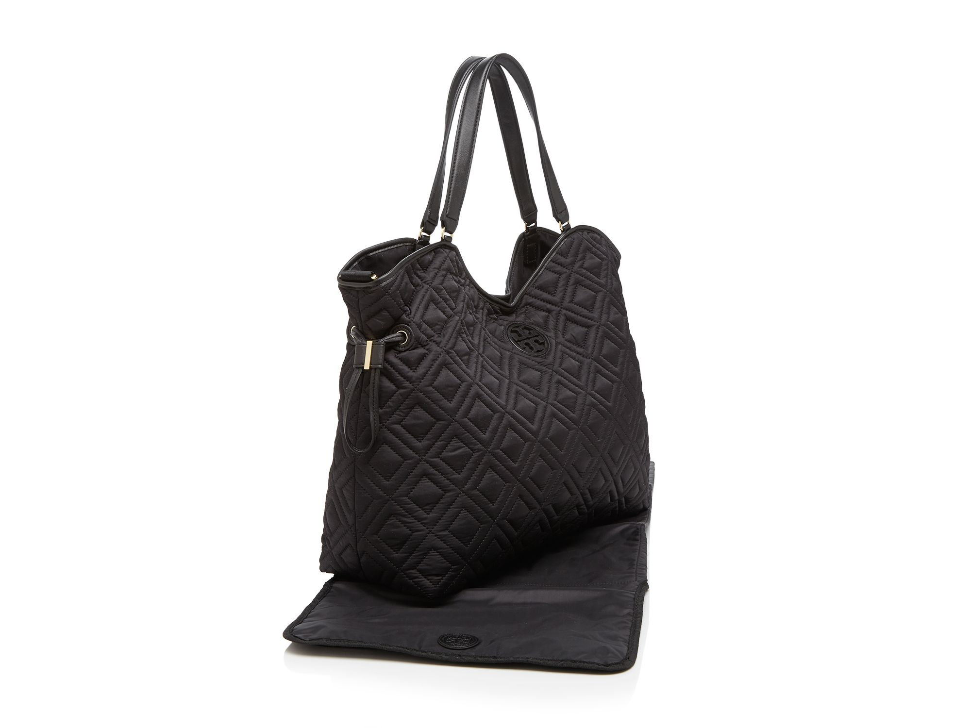 tory burch diaper bag quilted slouchy in black lyst. Black Bedroom Furniture Sets. Home Design Ideas