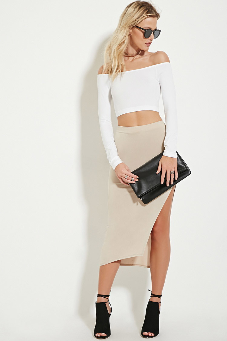 b80e4043cba20b Forever 21 Off-the-shoulder Crop Top in White - Lyst