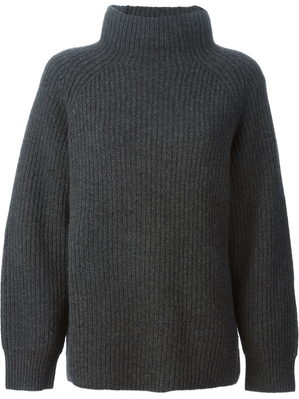 Theory Ribbed Turtle Neck Sweater in Gray | Lyst