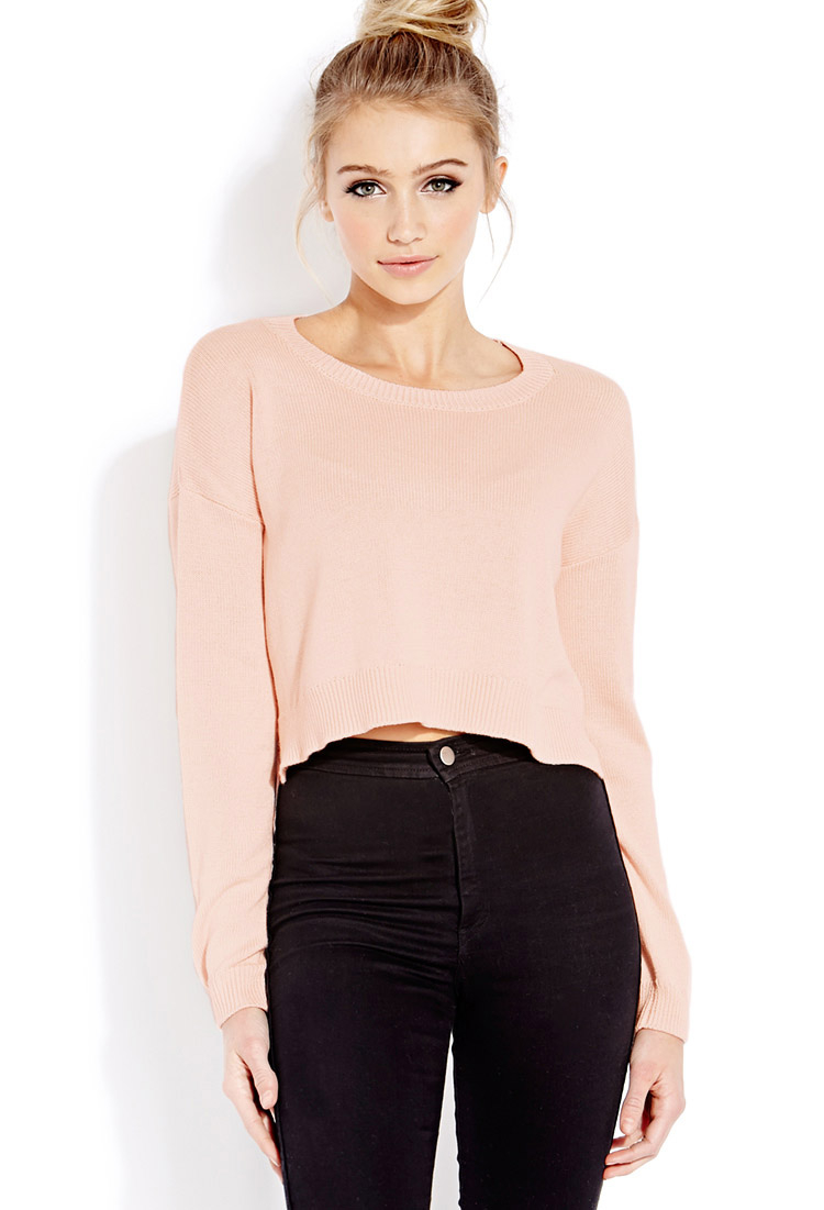 f055c2e7d Forever 21 Lazy Day Cropped Sweater in Pink - Lyst