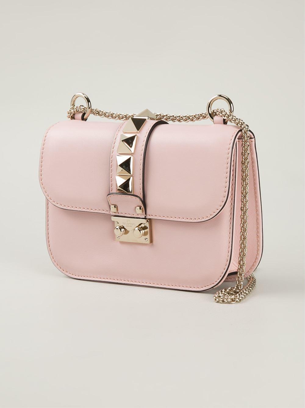 valentino glam lock leather shoulder bag in pink lyst