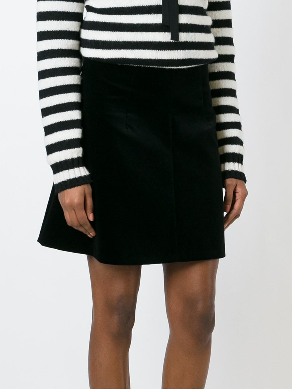 Red valentino Velvet A-line Skirt in Black | Lyst