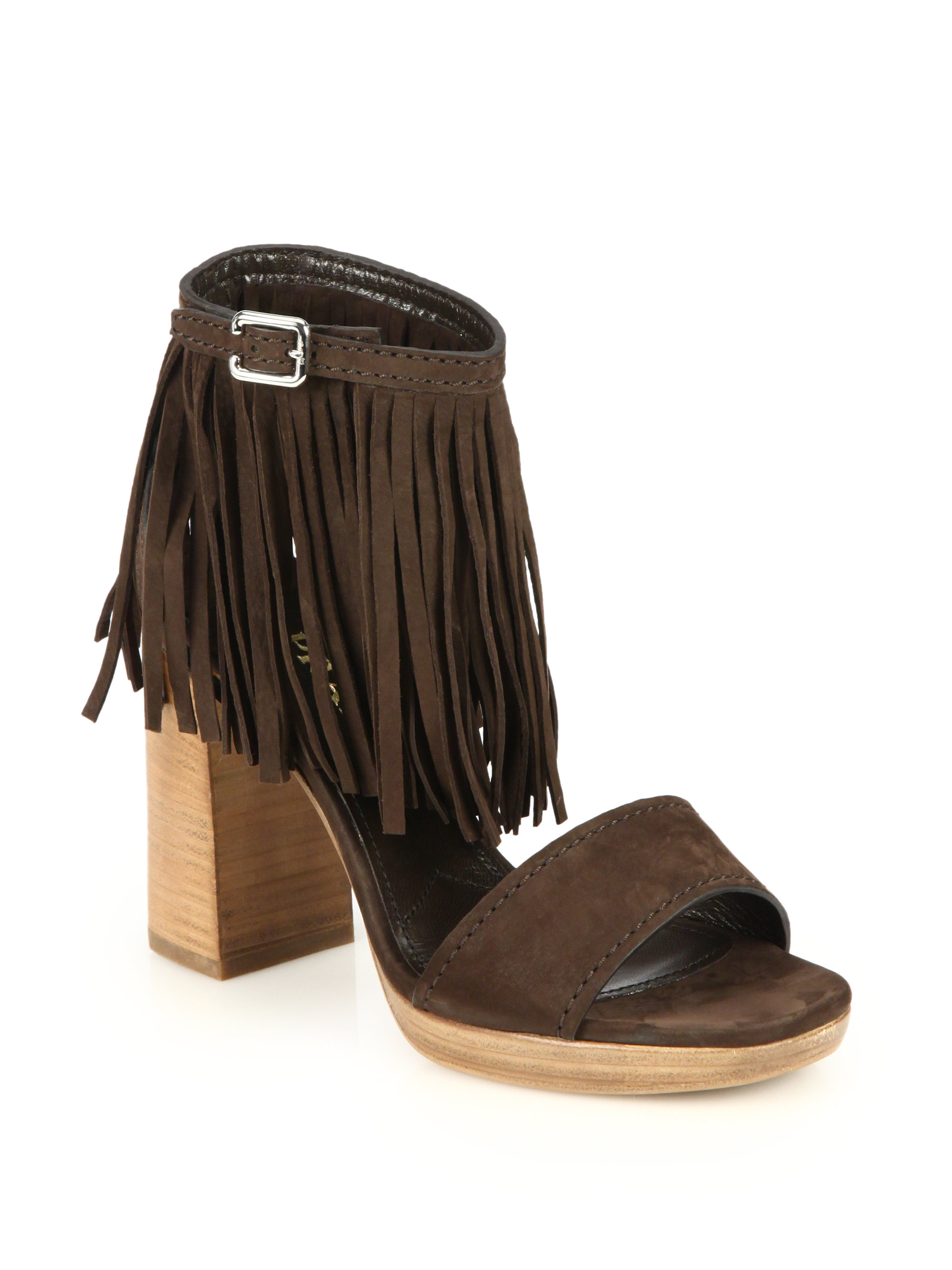 cheap sale low price fee shipping outlet collections Prada Suede Fringe Sandals Grey outlet store online Grn5uYC