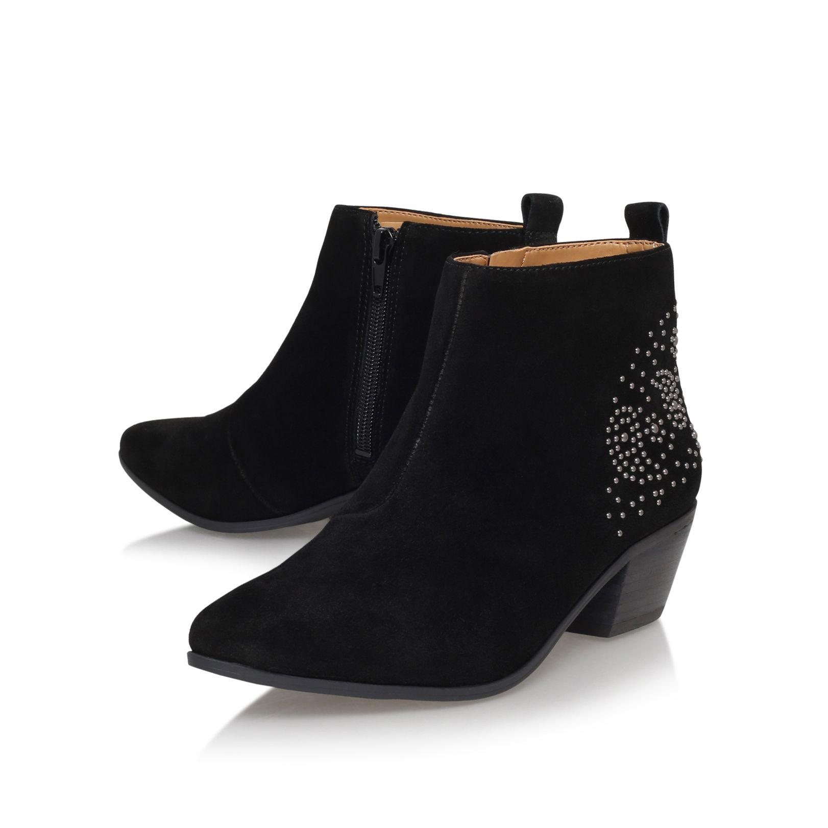 nine west twinsie low heel ankle boots in black lyst