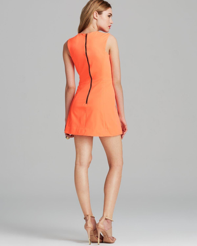 Milly Dress Sleeveless Shift in Orange | Lyst