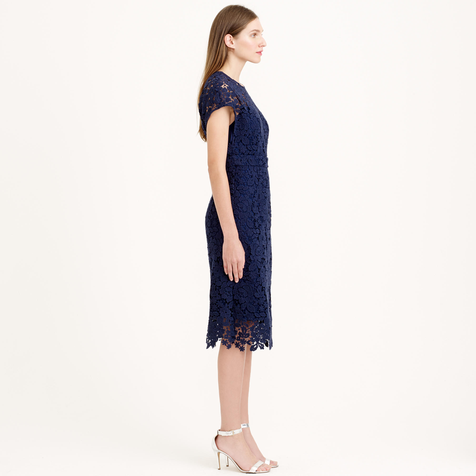 2b701689acc Lyst J Crew Collection Scalloped Lace Dress In Blue