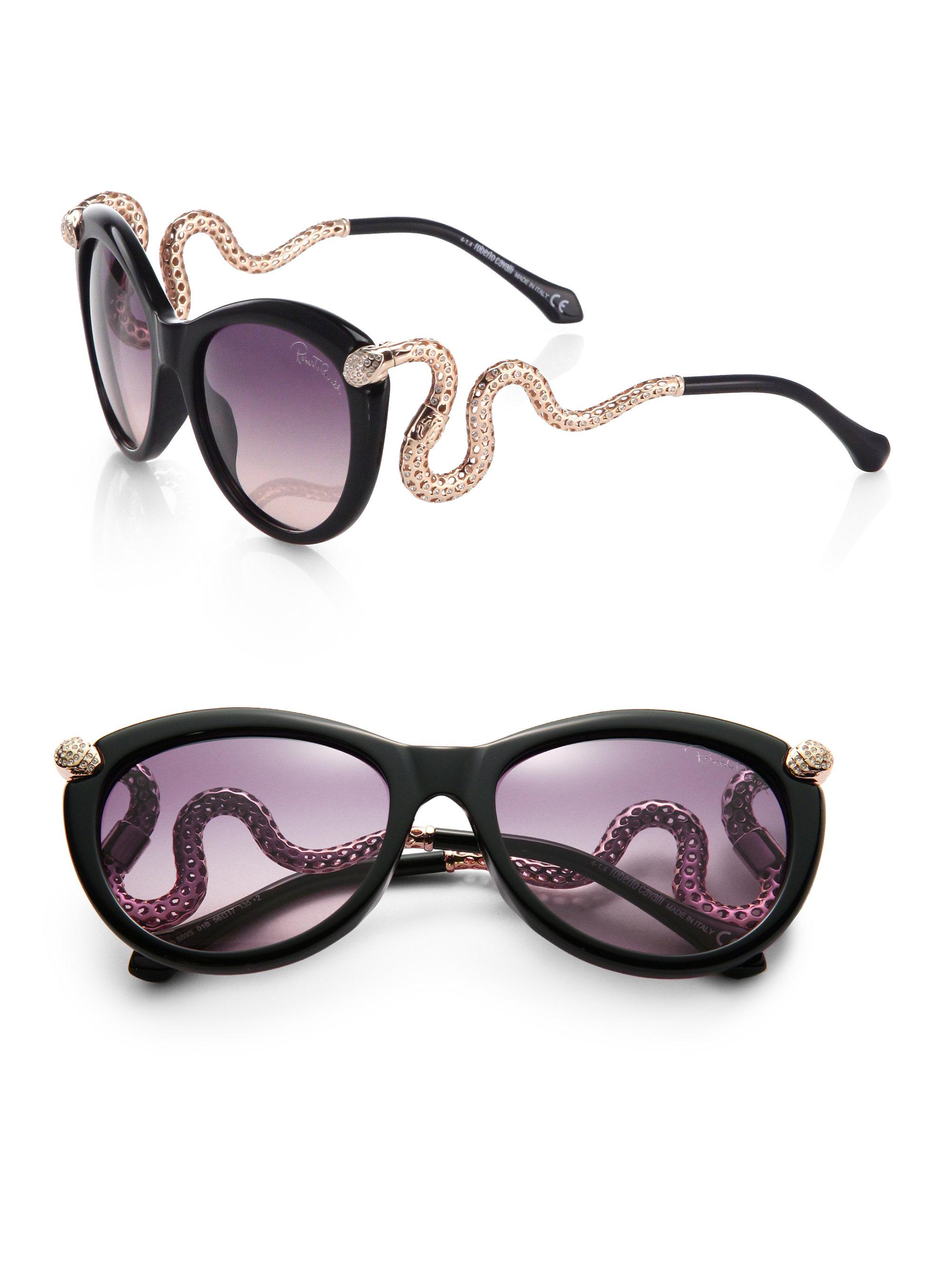 Roberto Cavalli Modern 56mm Round Sunglasses In Black Lyst