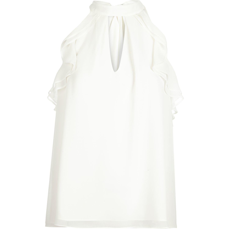 White Front Ruffle Blouse 24
