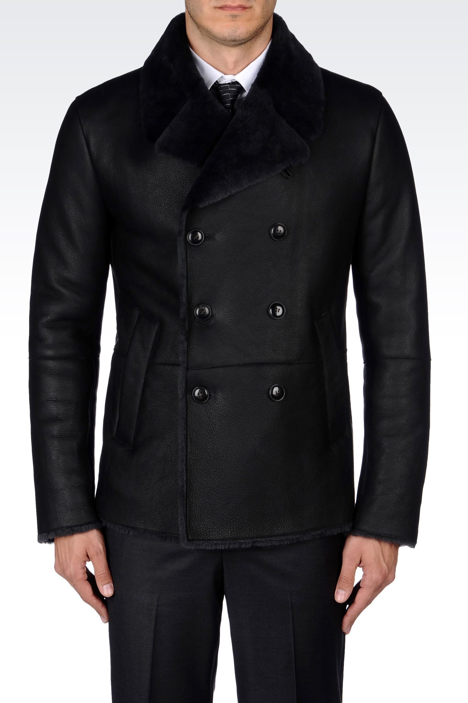 Emporio armani Doublebreasted Pea Coat in Sheepskin in Black for ...