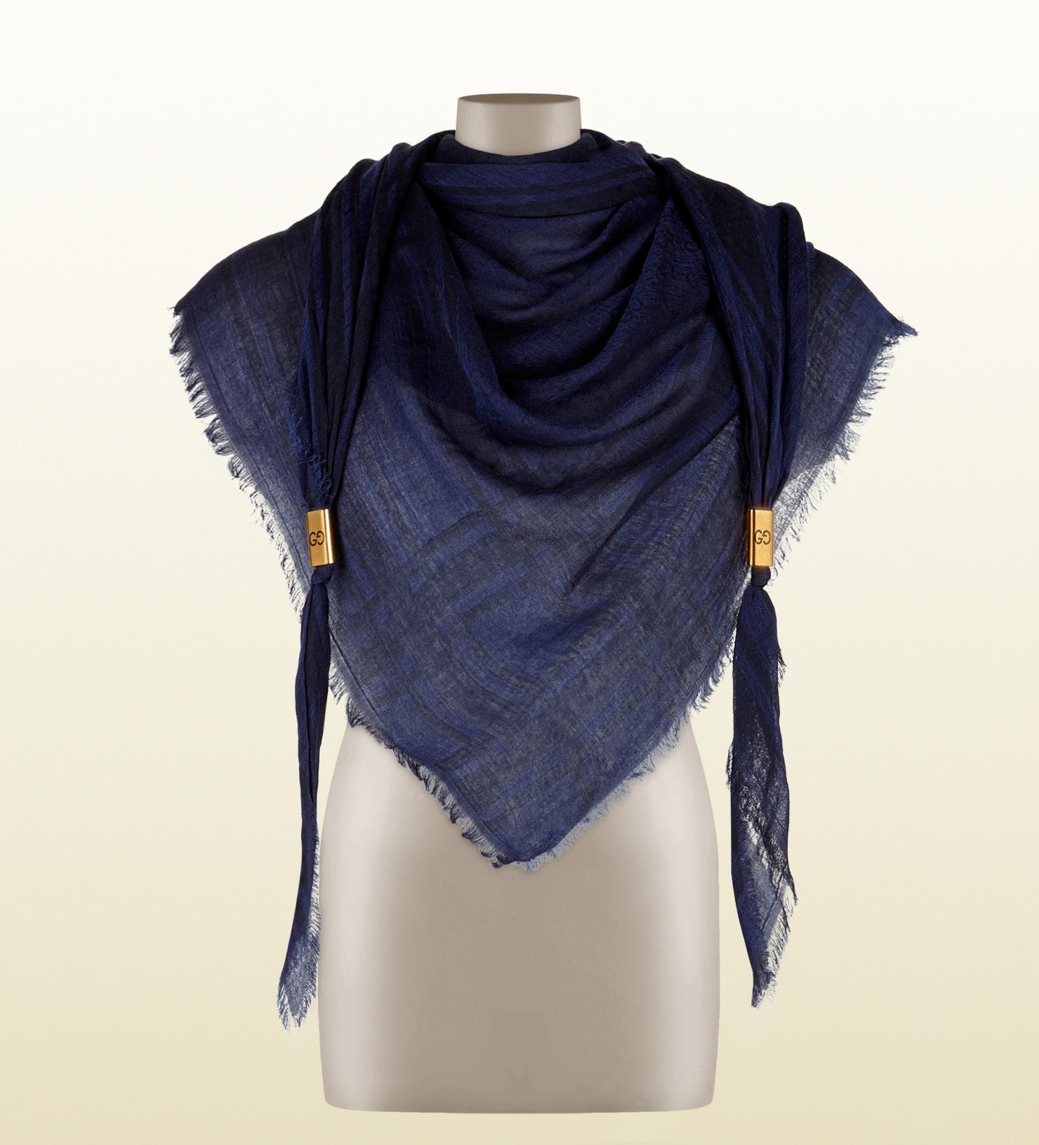 GG jacquard scarf - Blue Gucci 0pSD8VCXVN