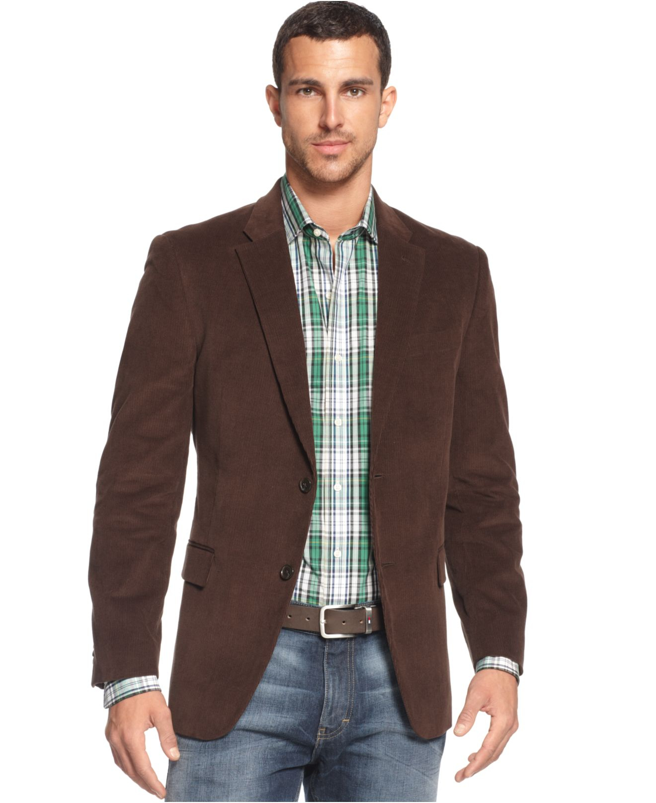 Tommy hilfiger Solid Trim-fit Corduroy Sport Coat With Elbow