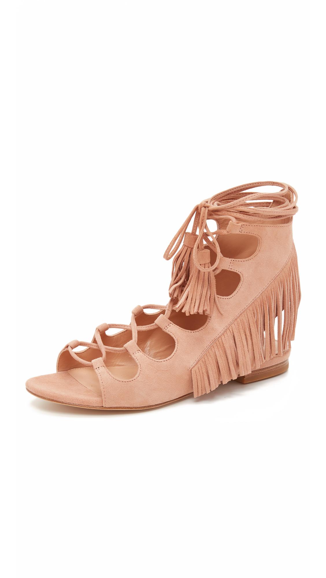 5ebbbd710961 Sigerson Morrison Azzia Fringe Gladiator Sandals in Natural - Lyst