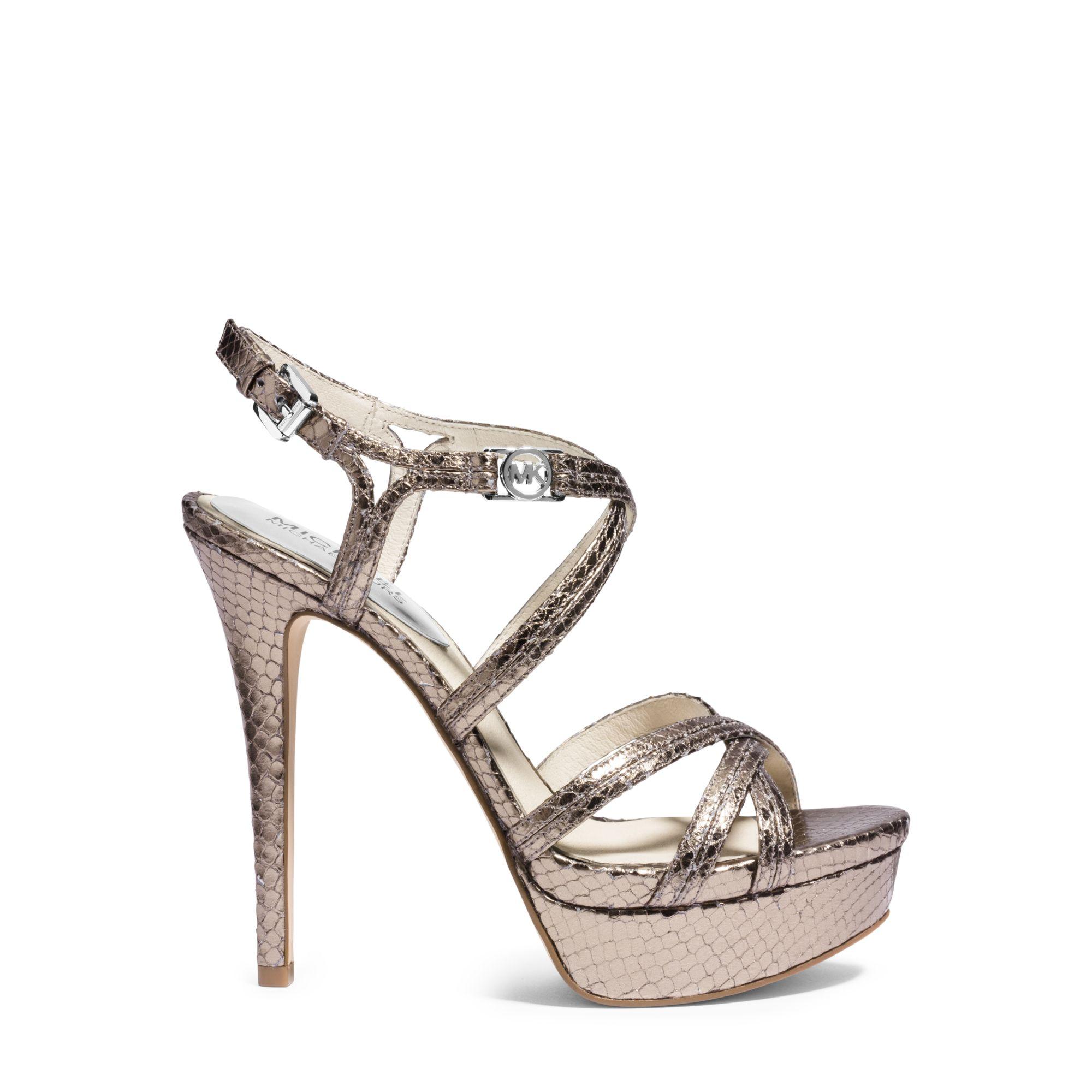 83407ff214008 Lyst - Michael Kors Cicely Metallic Embossed-leather Platform Sandal ...