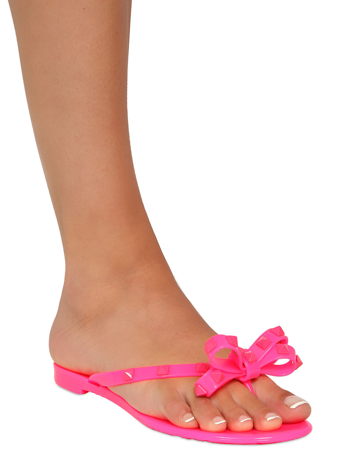 Valentino Rubber Studded Flip Flops In Pink Neon Fuchsia -7597