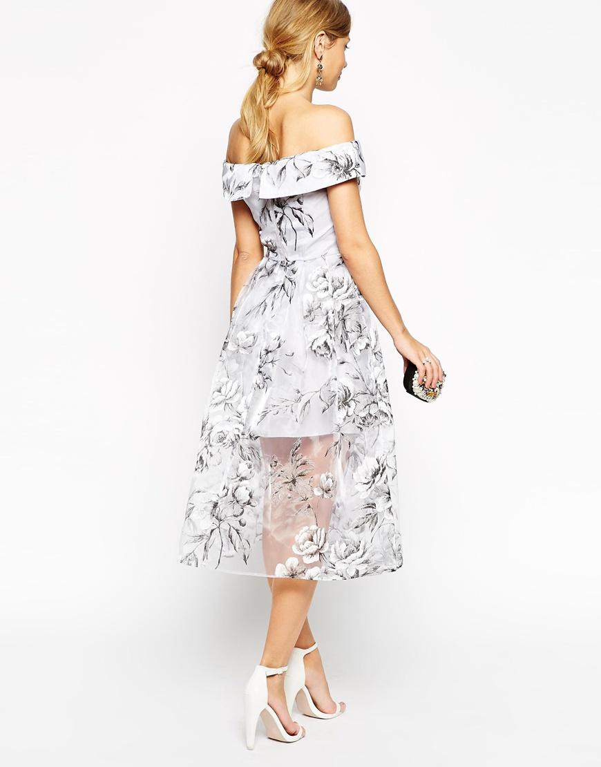 Lyst Asos Salon Bardot Dress In Organza Floral Midi In Gray