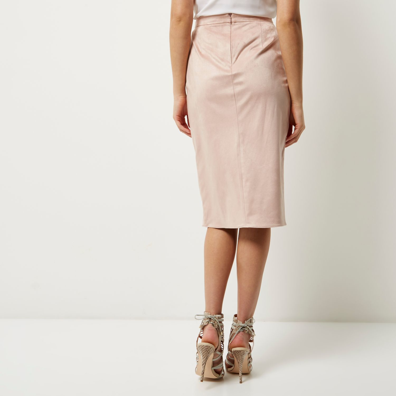 e19195a651 River Island Light Pink Faux Suede Wrap Pencil Skirt in Pink - Lyst