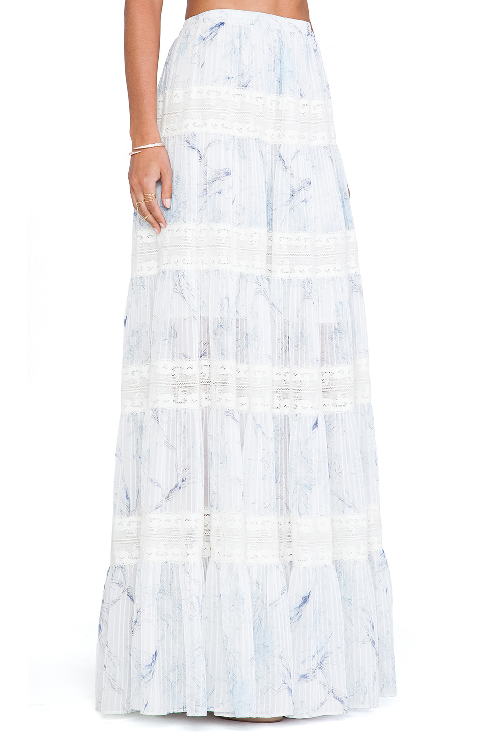 Marchesa voyage Tiered Maxi Skirt in Blue | Lyst
