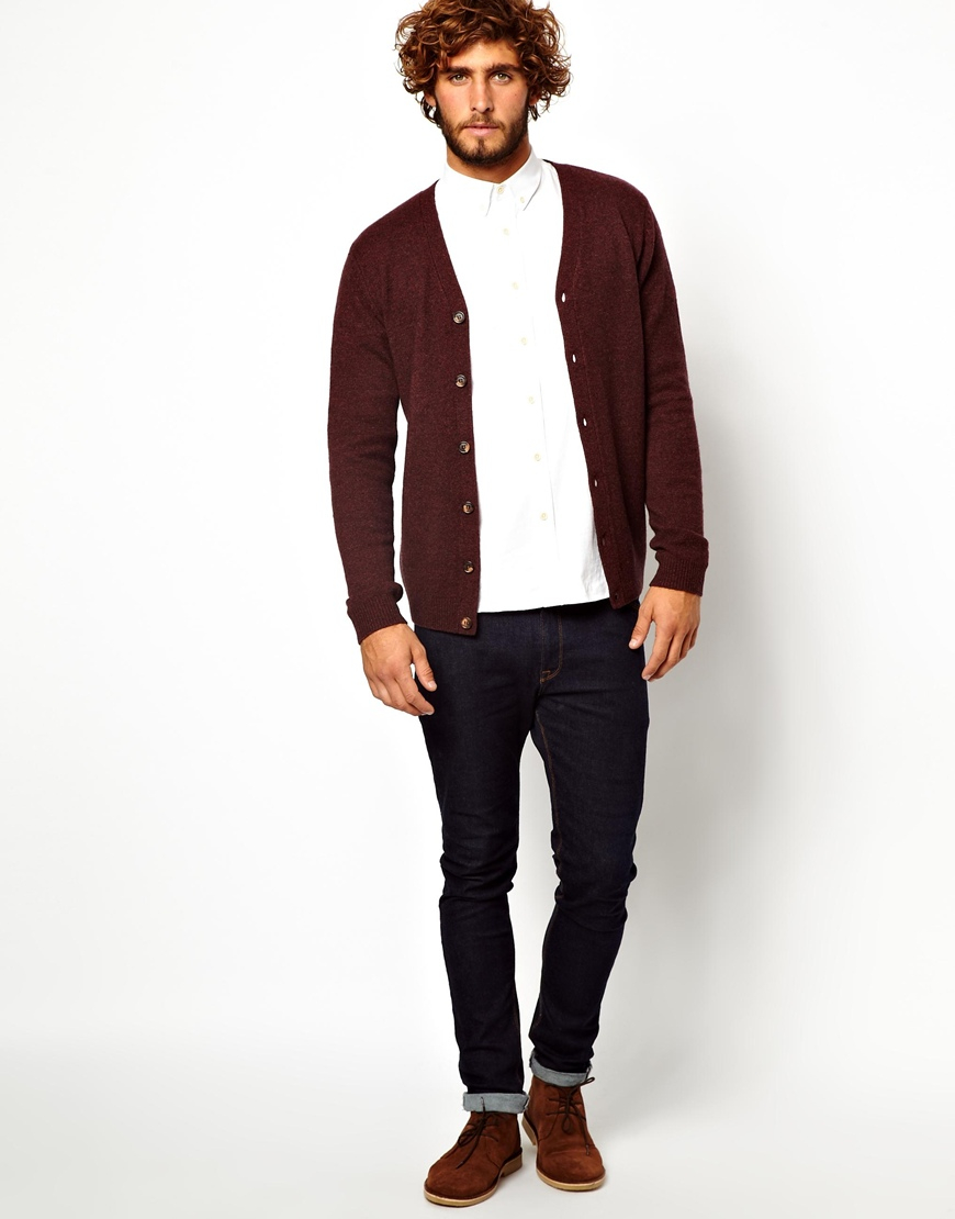 Asos Lambswool Rich Cardigan in Brown for Men | Lyst