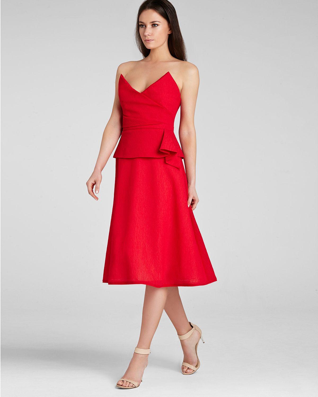 bcbg max azria red strapless dress