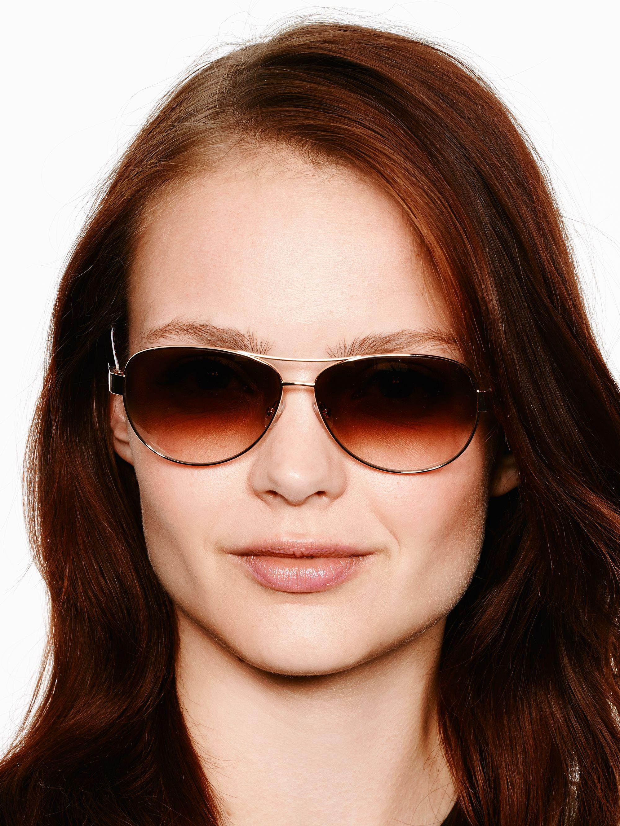 Kate Spade Polarized Aviator Sunglasses  kate spade new york dalia sunglasses in metallic lyst