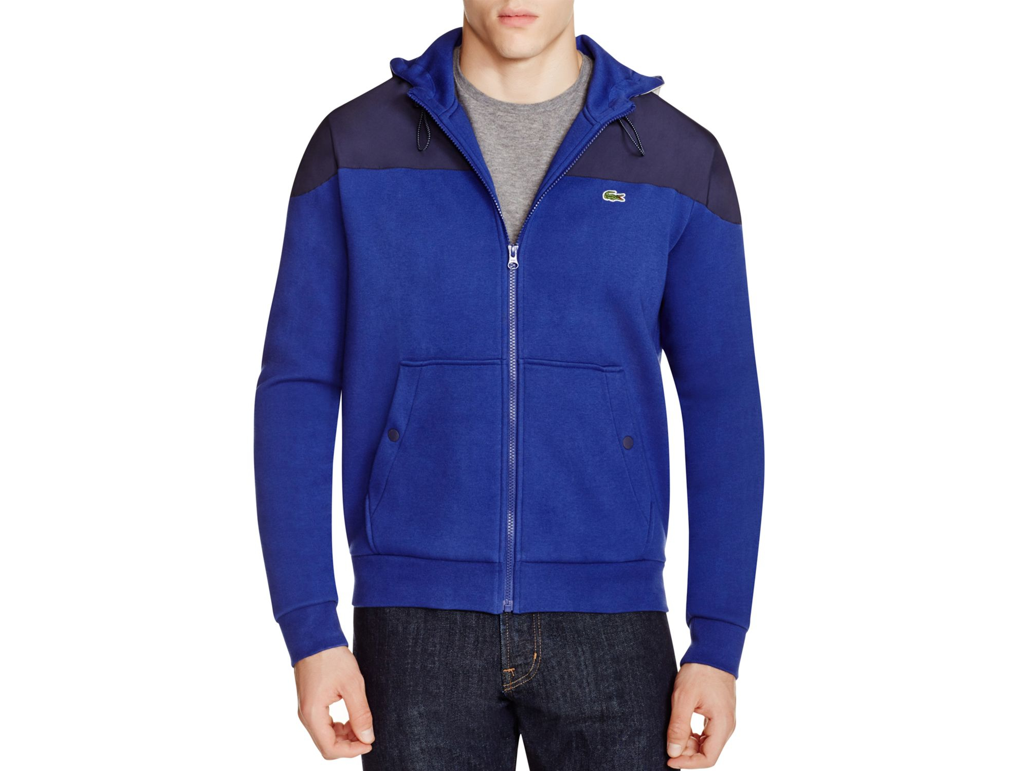 Lacoste zip front fleece hoodie in blue for men lyst for Zip front flannel shirt