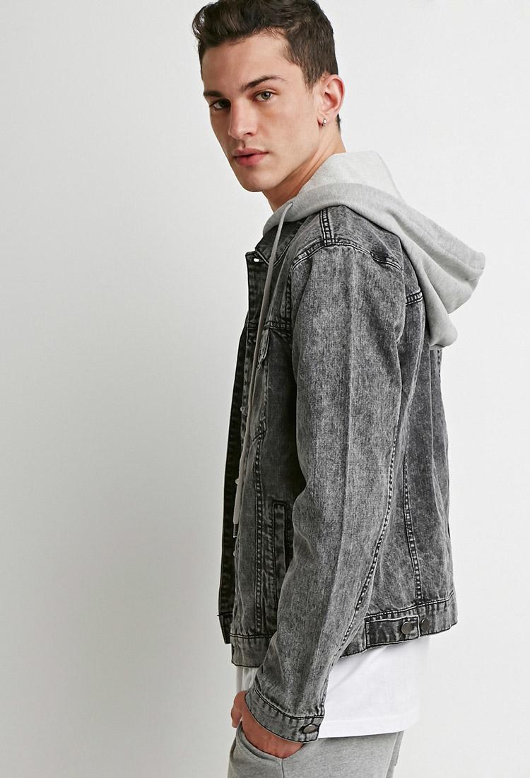 Mens jacket lazada - Forever 21 Hooded Denim Jacket In Gray For Men Lyst Forever 21 Hooded Denim Jacket In Gray For Men Lyst