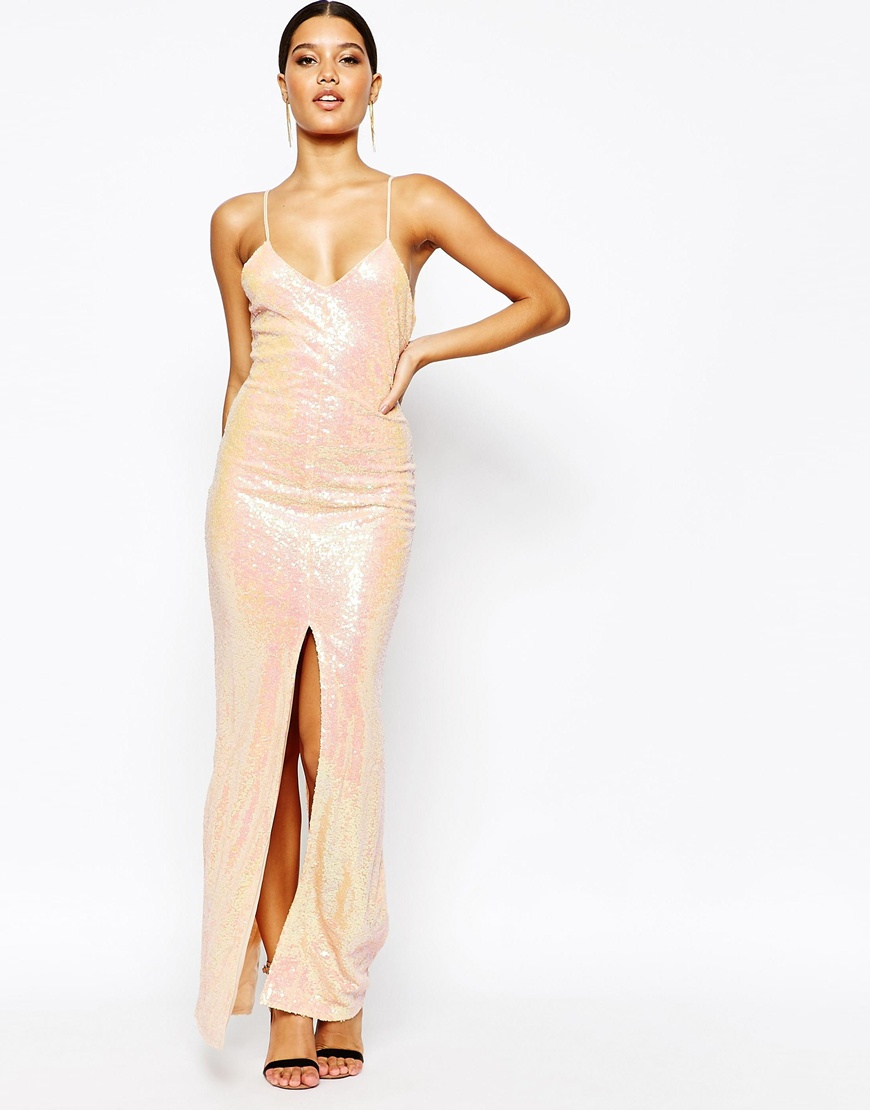 Naanaa All Over Sequin Dress With Cross Back in Natural - Lyst