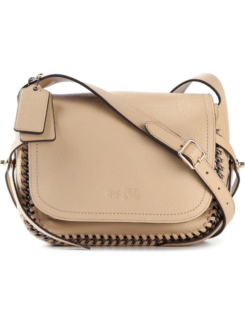 9a623e567b19 Lyst - COACH Dakotah Leather Cross-Body Bag in Natural