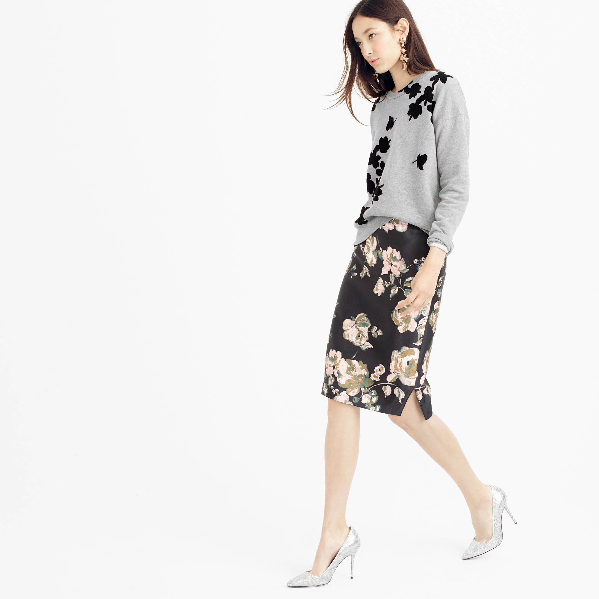 ee8f8872b111 Lyst - J.Crew Collection Pencil Skirt In Painterly Floral
