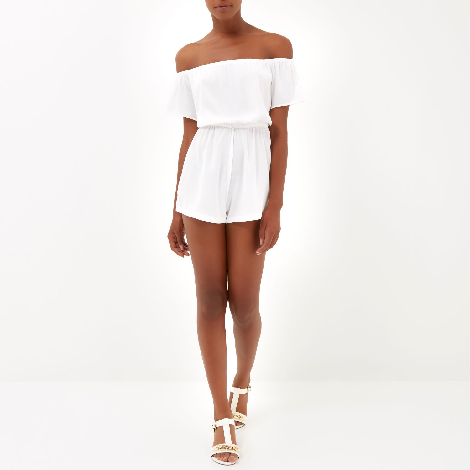 aa23c20e5b1 River Island White Bardot Playsuit in White - Lyst
