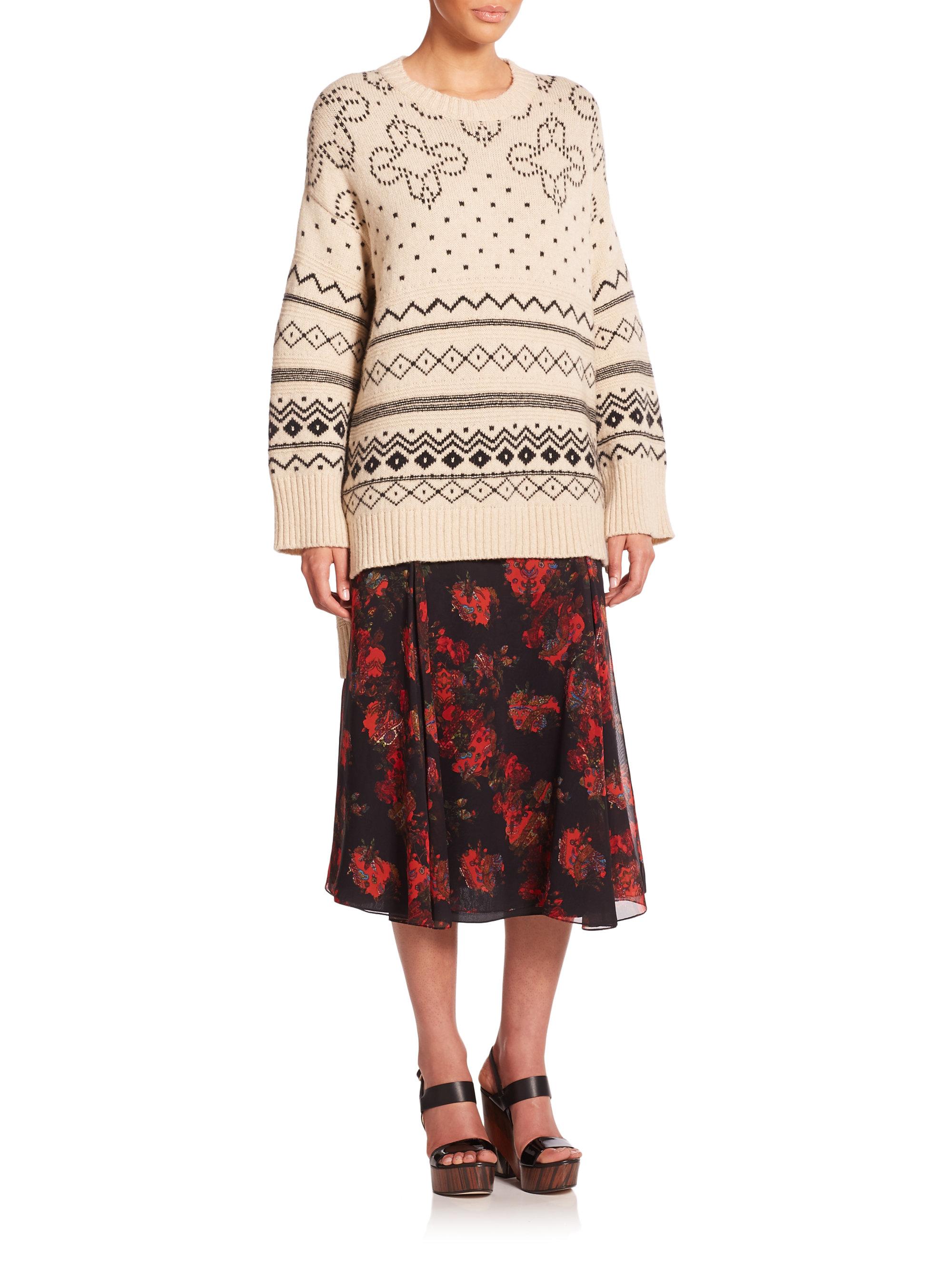 Thakoon Oversized Fairisle Sweater in Natural | Lyst