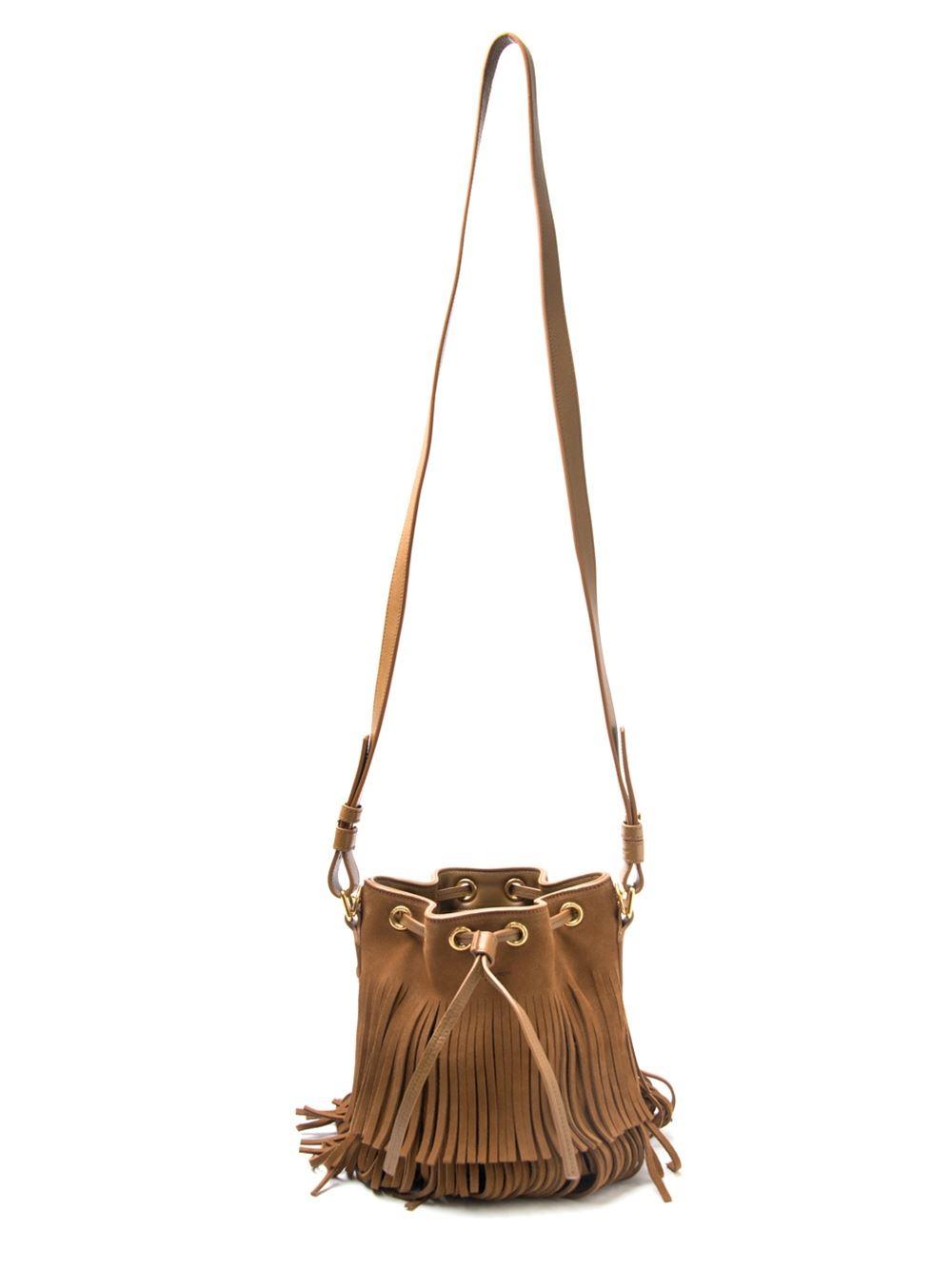 Emmanuelle Small Suede Fringe Bucket Bag, Dark Brown