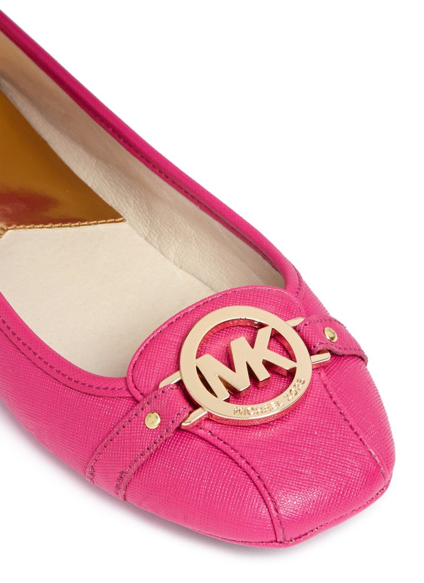 423d31bd2 Michael Kors 'fulton' Logo Saffiano Leather Flats in Pink - Lyst