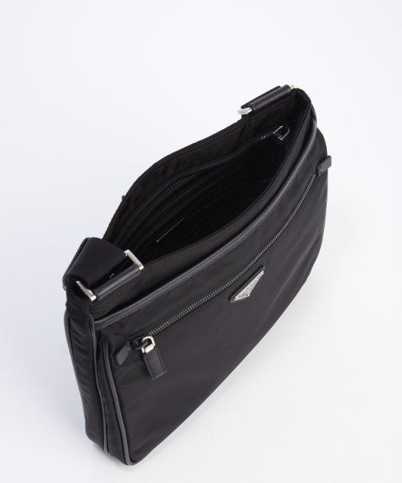 be7b0690f725 ... clearance prada black tessuto flat messenger bag in black for men lyst  5671f a23c6
