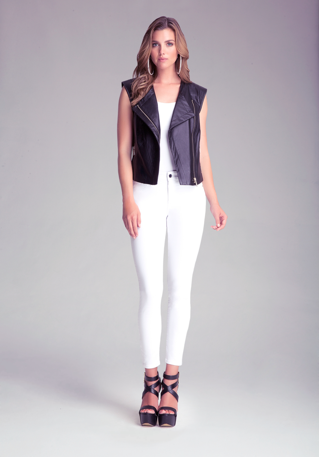 a14fb96174 Bebe Christina Leather Vest in Black - Lyst