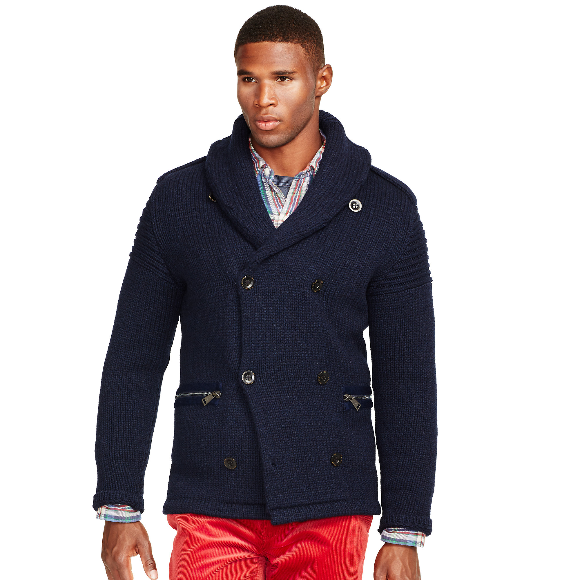 polo ralph lauren merino wool shawl cardigan in blue for men lyst. Black Bedroom Furniture Sets. Home Design Ideas
