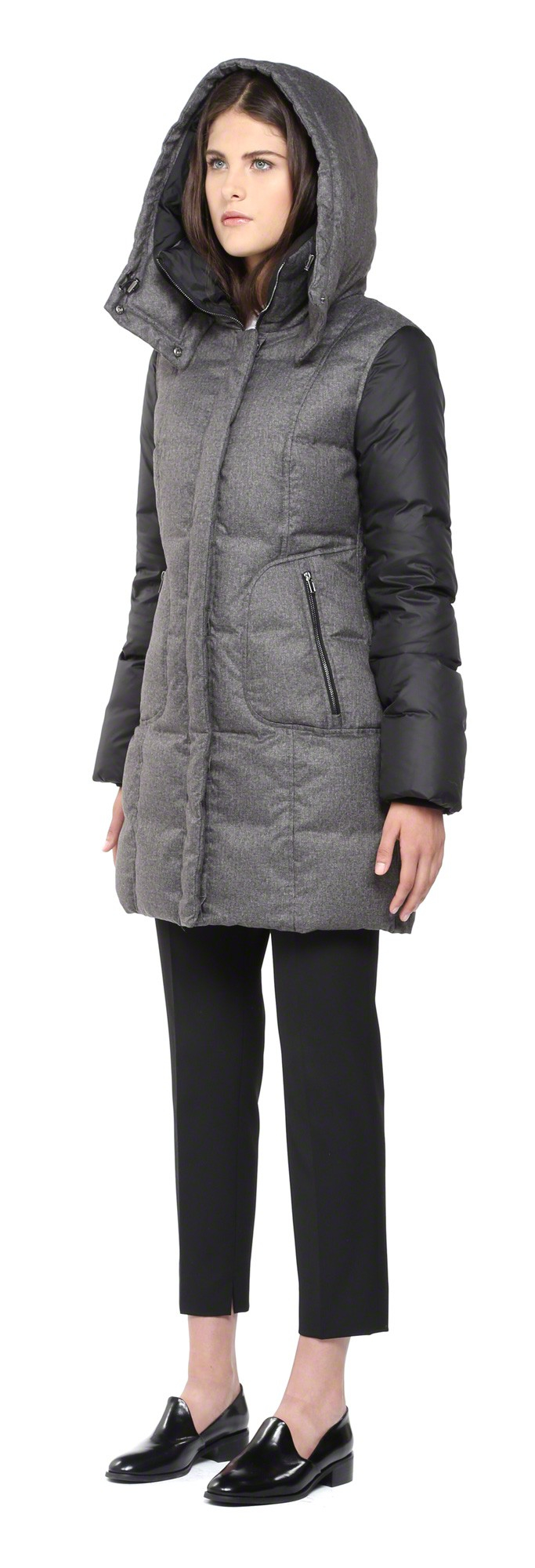 Soia & kyo Alois-Sp Grey Down Coat With Hood in Gray | Lyst