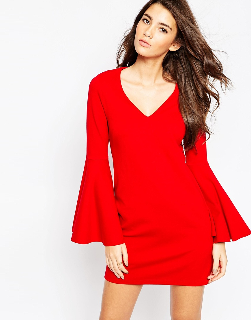 asos 60s shift dress with flared sleeves in ponte in red