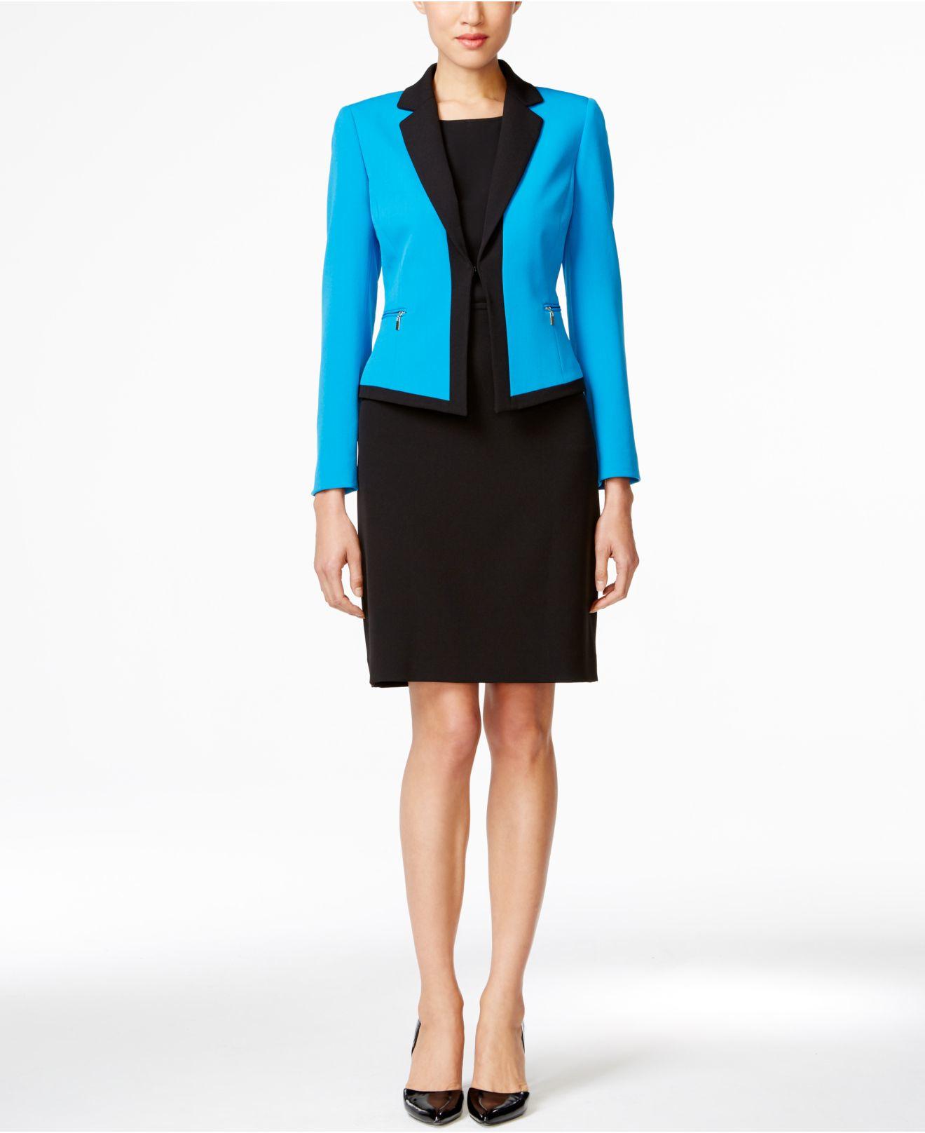 tahari colorblocked skirt suit in blue lyst
