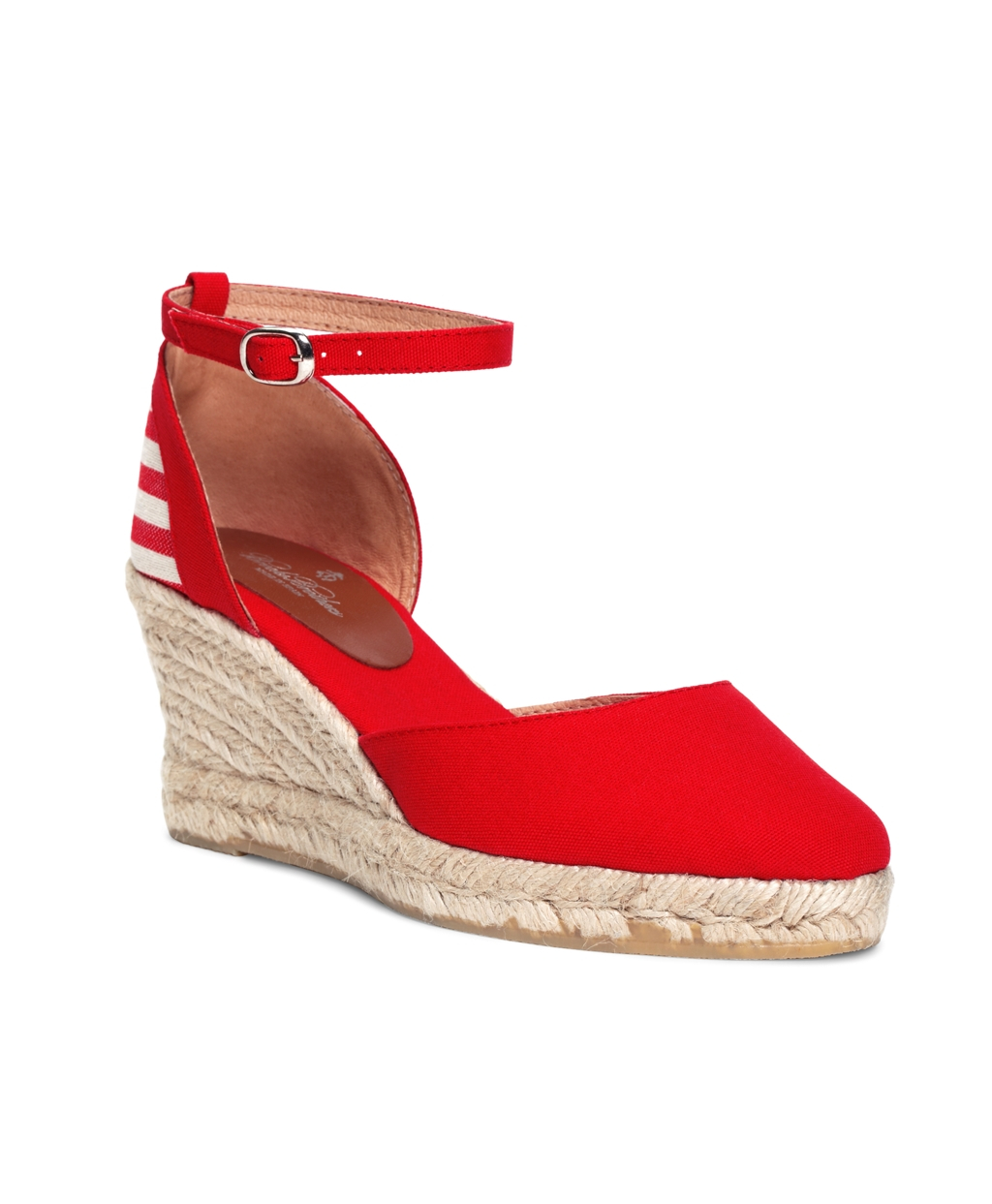 Lyst Brooks Brothers Stripe Wedge Espadrilles In Red