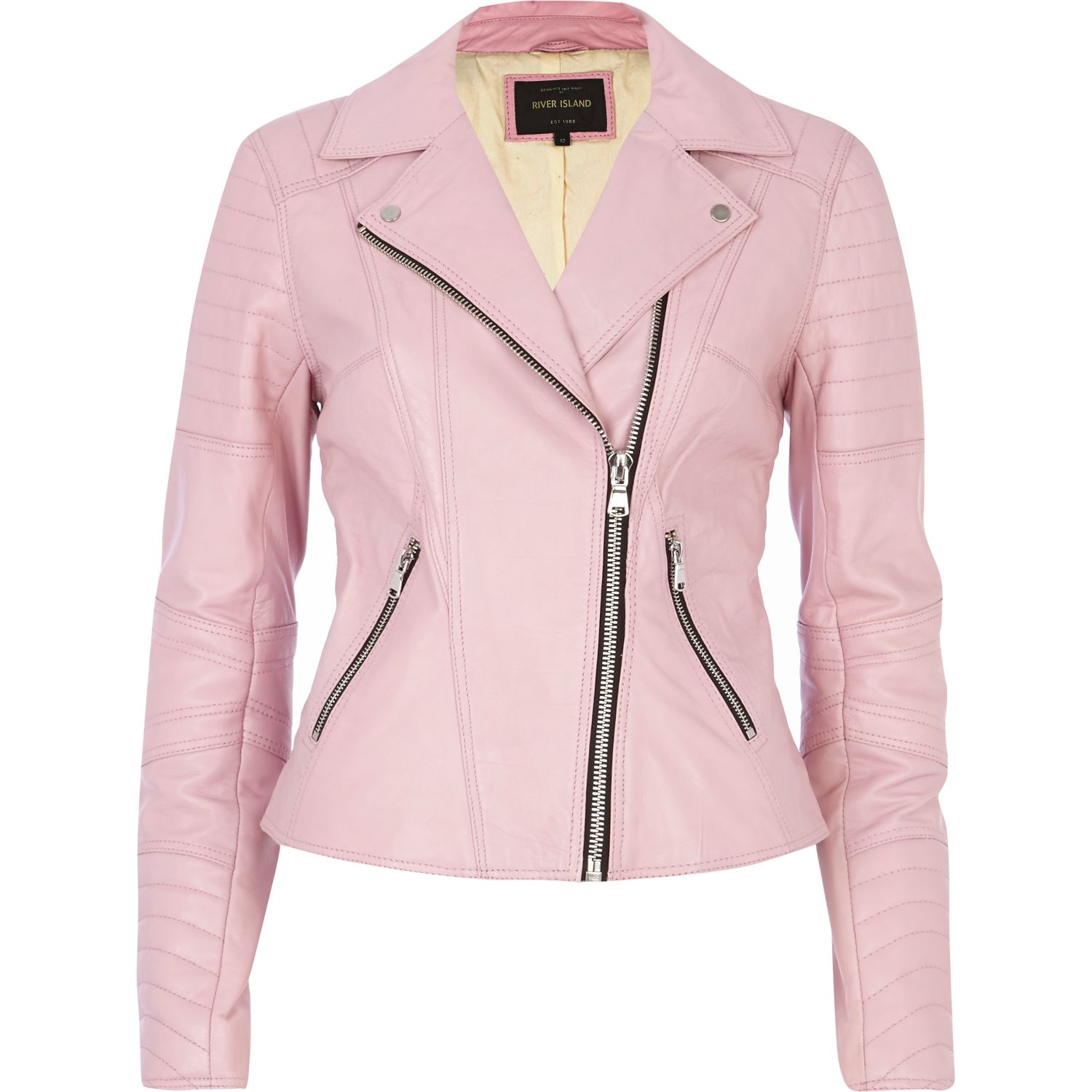 River island Pink Leather Biker Jacket in Pink | Lyst
