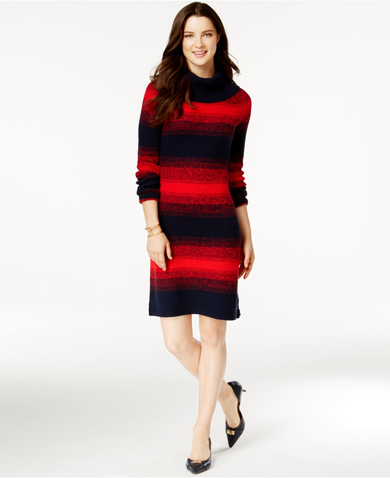 Tommy hilfiger Cowl-neck Striped Sweater Dress in Red   Lyst
