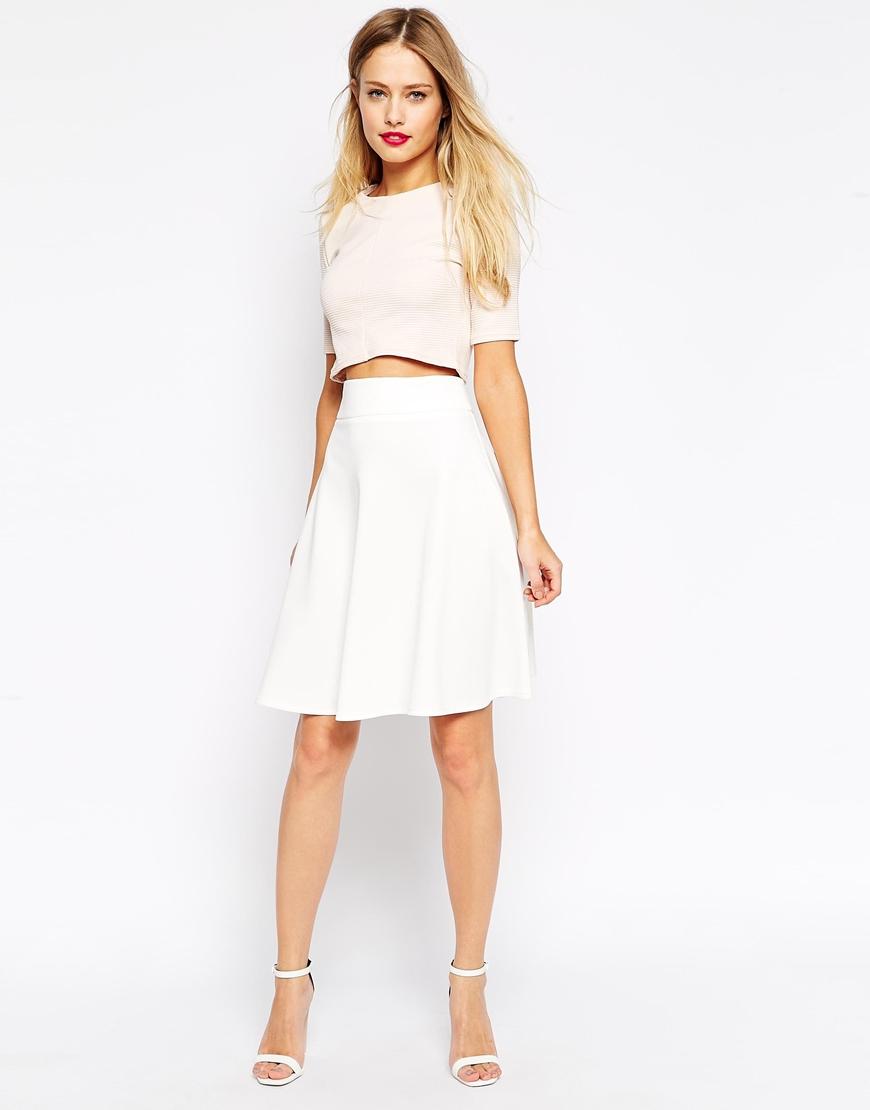 Asos Knee Length Skirt In Scuba in White | Lyst