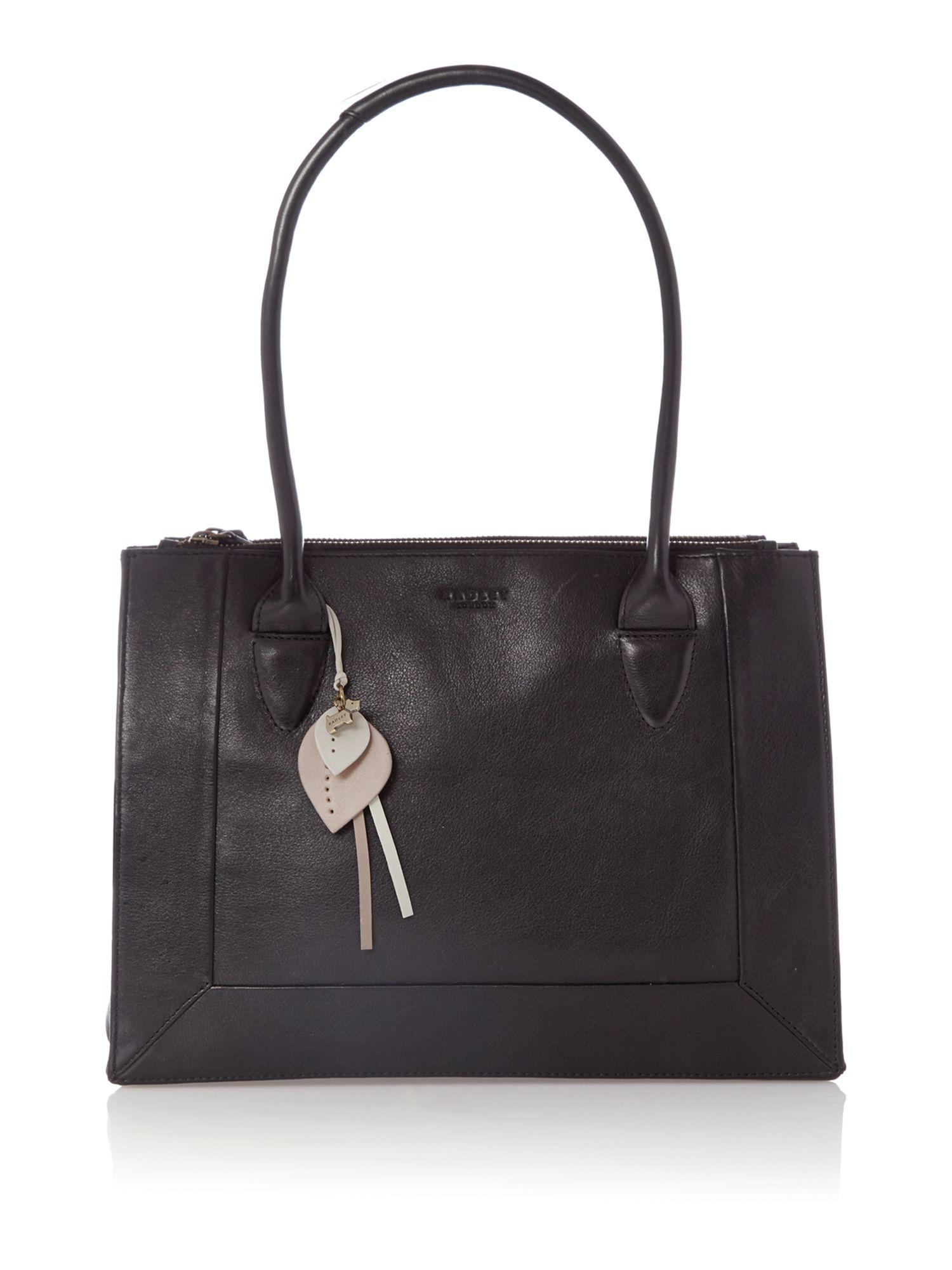 Radley Border Black Leather Medium Ziptop Tote Bag In