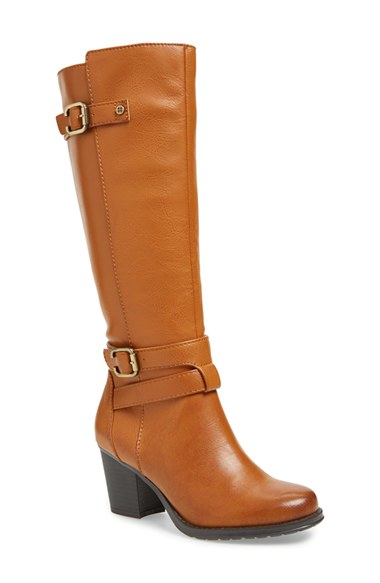 naturalizer tricia leather boots in brown lyst