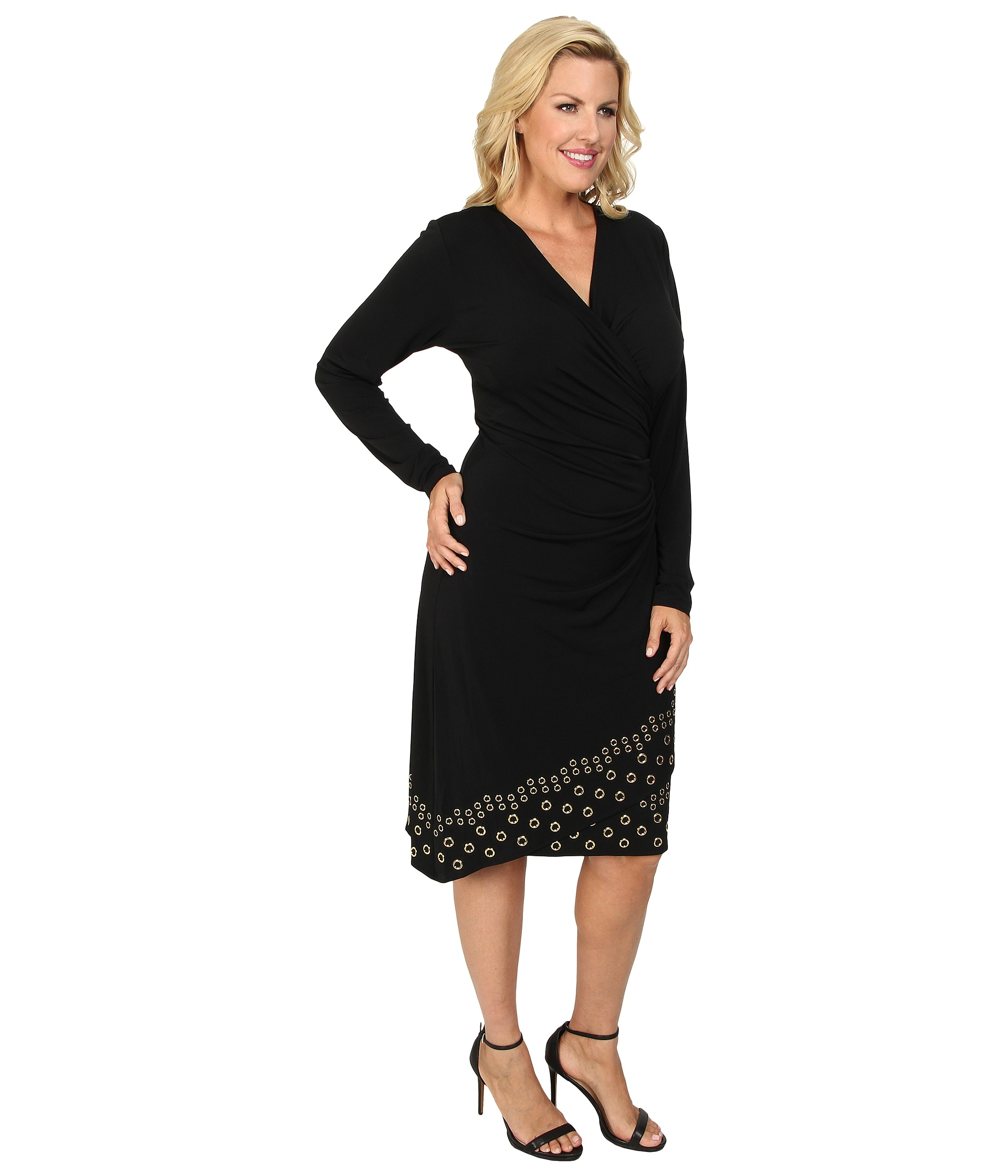 Michael Michael Kors Plus Size Long Sleeve Grommet Hem