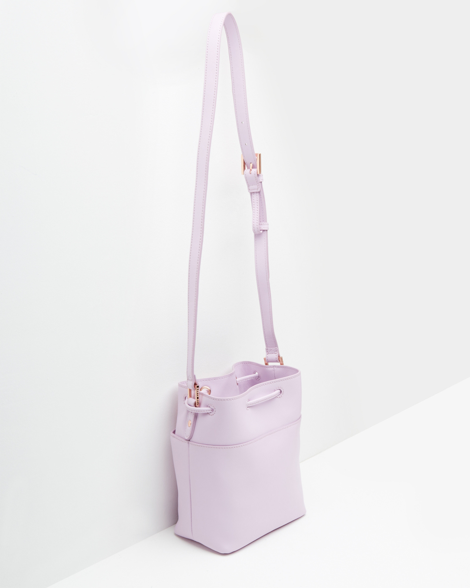 80bce23c34b6e9 Lyst - Ted Baker Crosshatch Leather Mini Bucket Bag in Purple