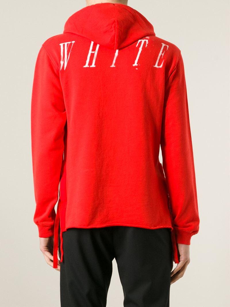 Off-white c/o virgil abloh Logo-Print Hoodie in Red for Men | Lyst