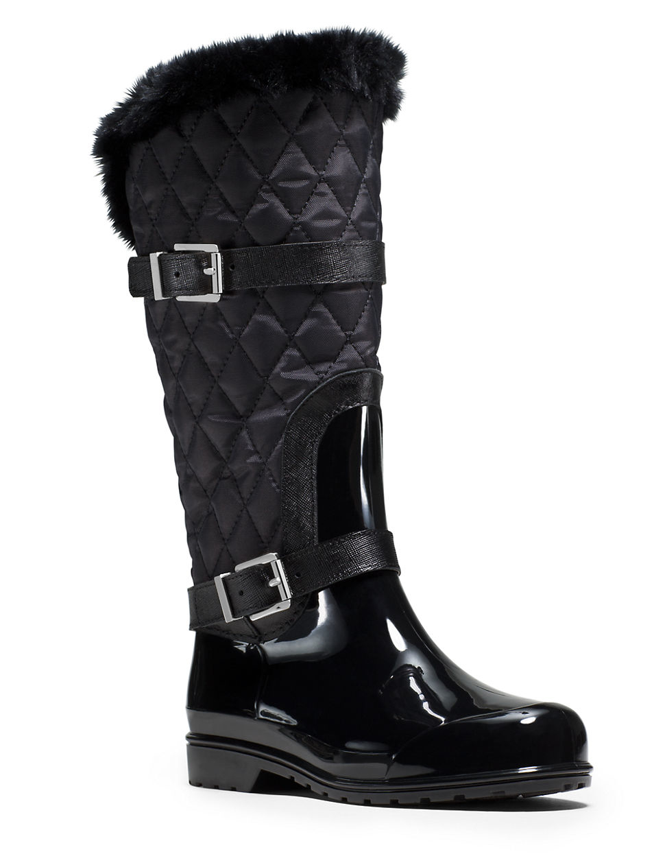 Michael michael kors Fulton Quilted Faux Fur-lined Rain Boots in