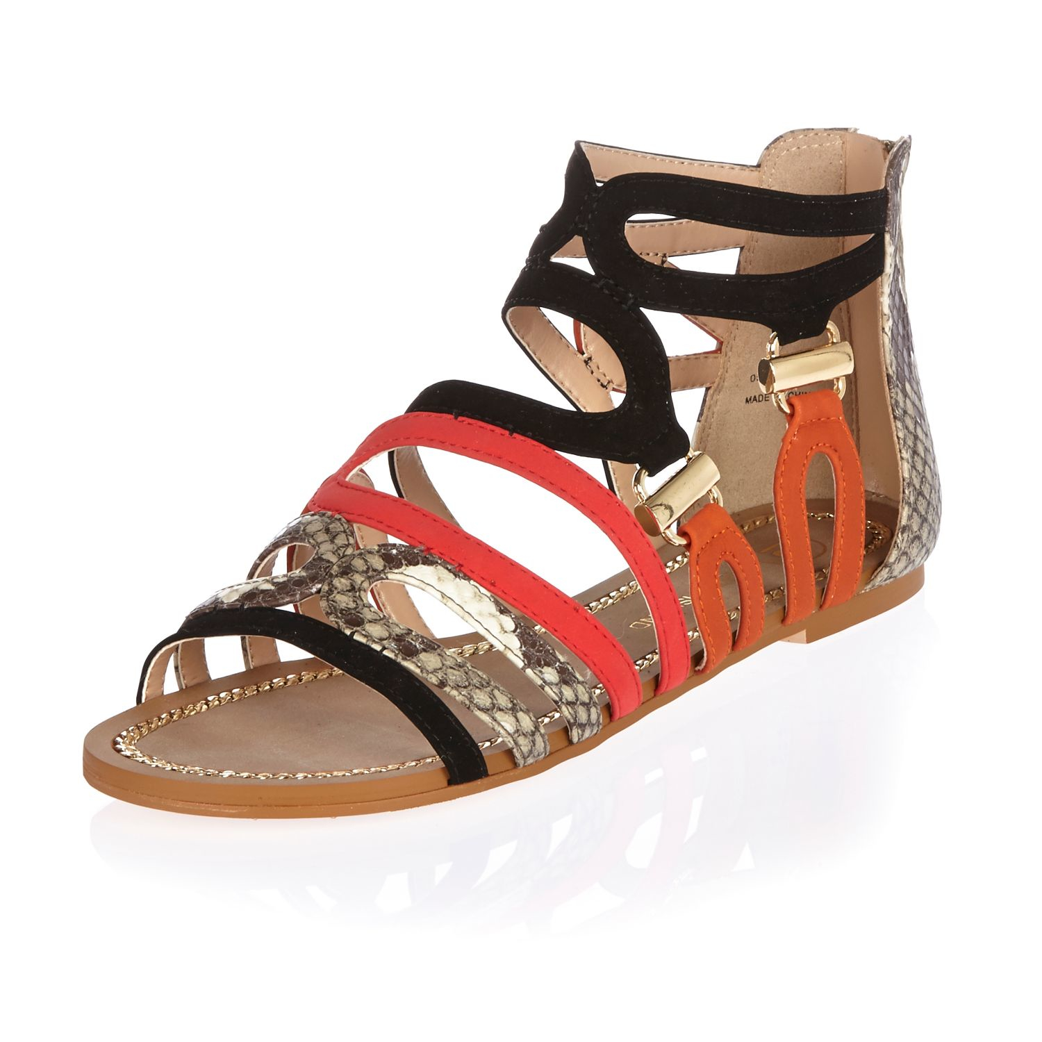 f220ce96d16 Lyst - River Island Black And Snakeskin Print Flat Sandals in Black